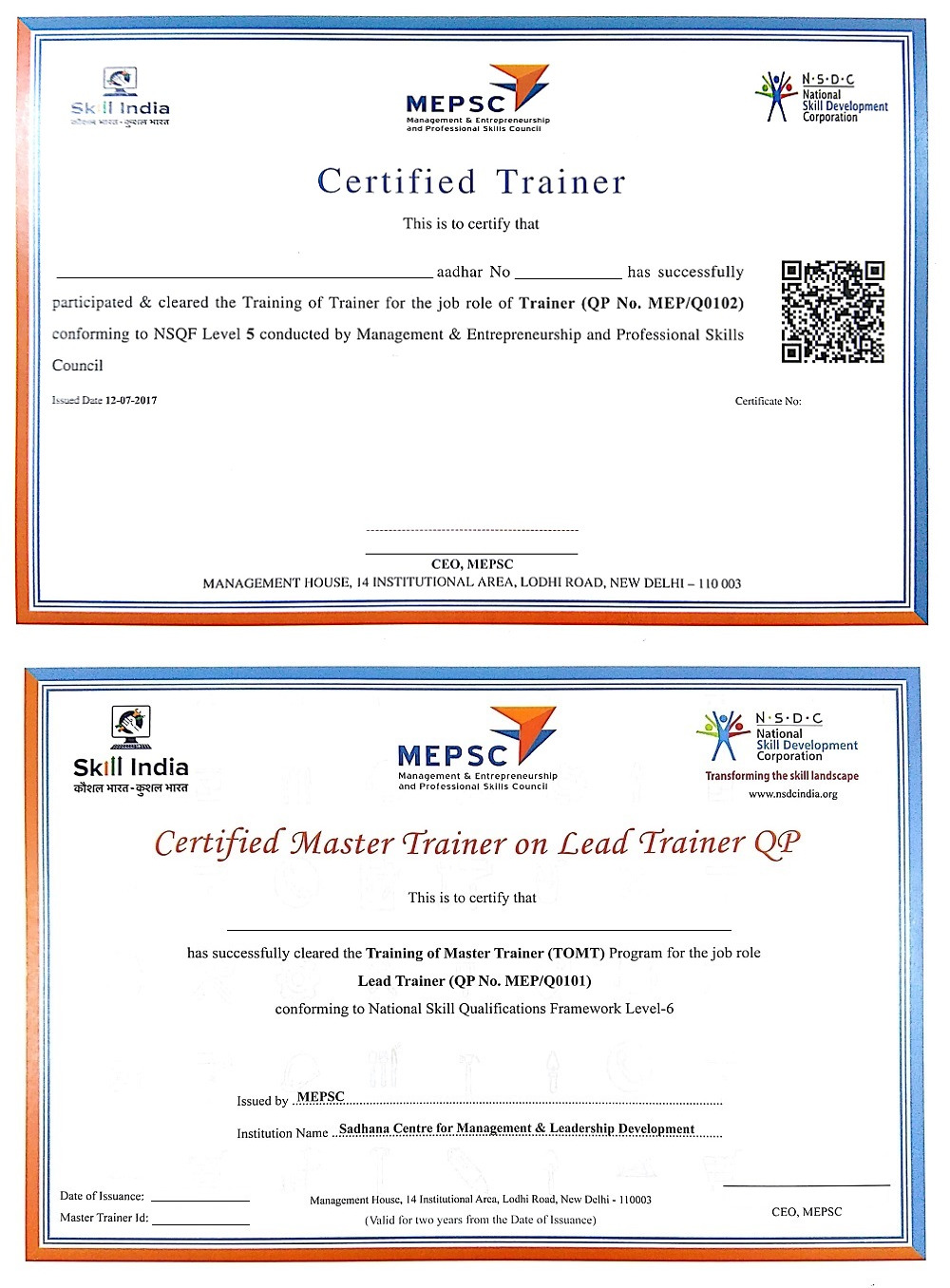 CERTIFIED TRAINER' (TRAINING OF TRAINERS) PROGRAMME